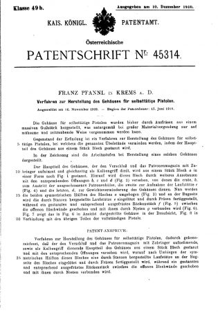 Kolibri Pistol patent