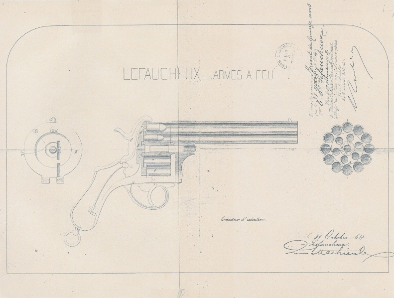 Two Barrel Pinfire Revolver Patent Lefaucheux