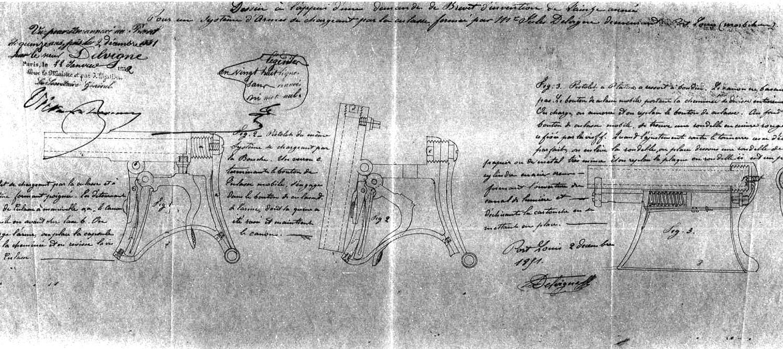 Patent Delvigne Breech Loading Underhammer Deringer