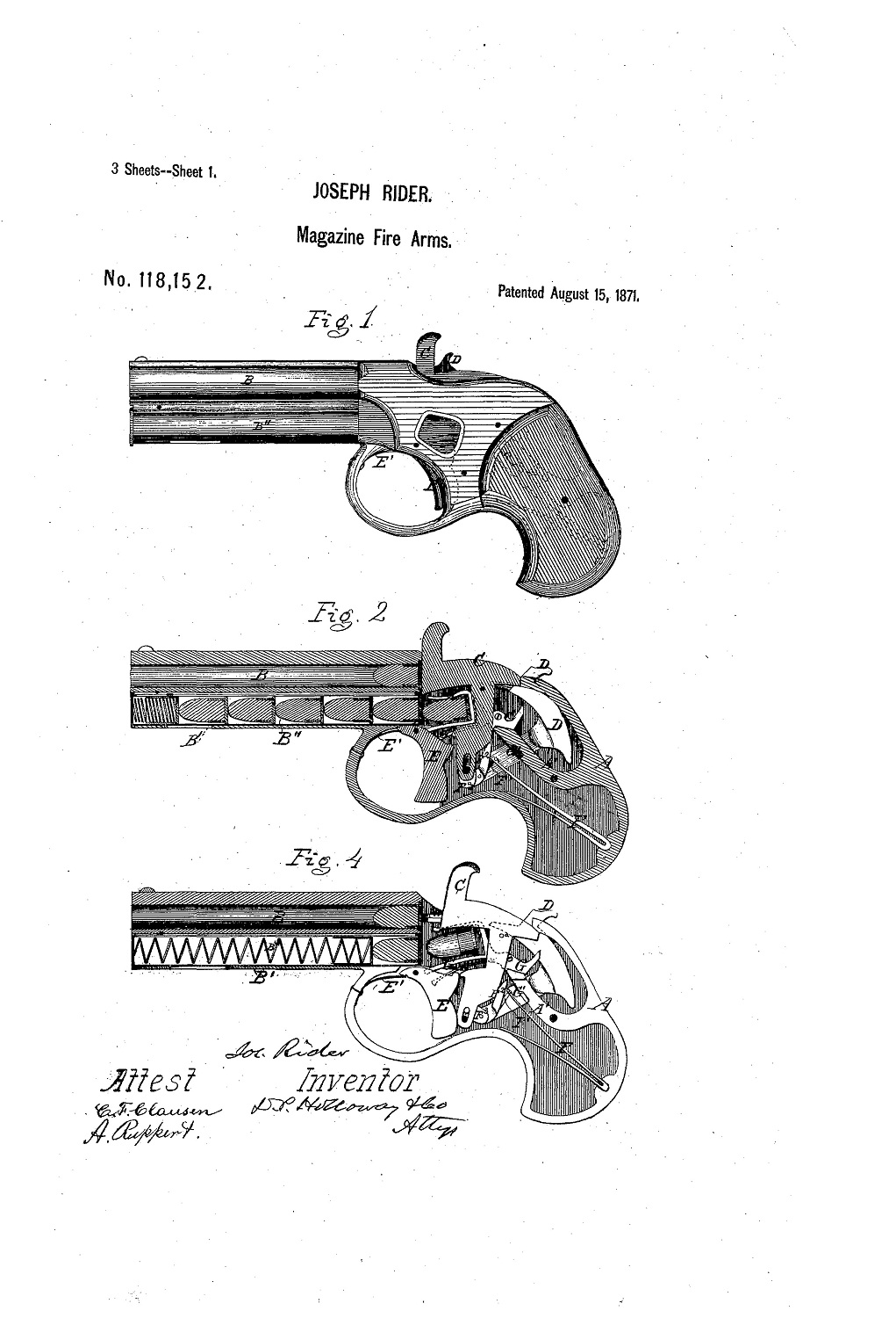 Patent Remington Rider Magazine Pistol