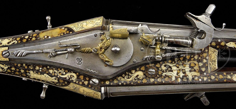 Французский двуствольный колесцовый пистолет 1600 года