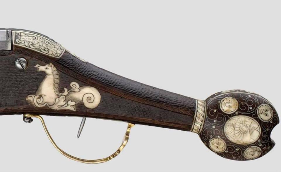 Пистолет с искровым колесцовым замком саксонских офицеров лейб-гвардии