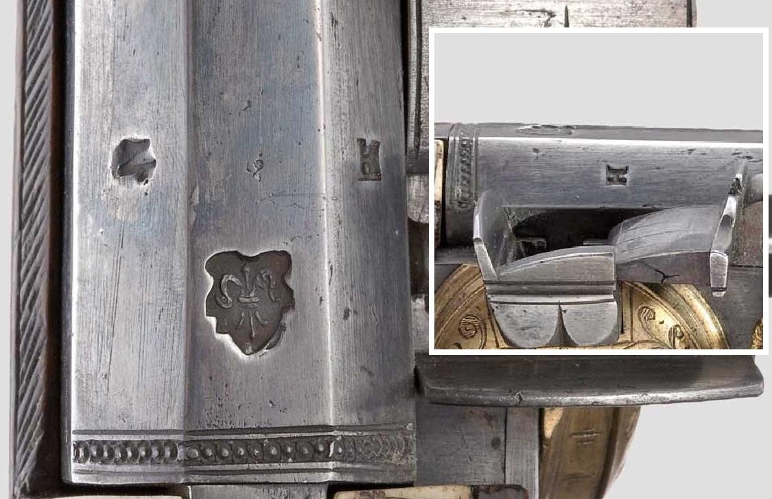 Клейма на пистолете с искровым колесцовым замком