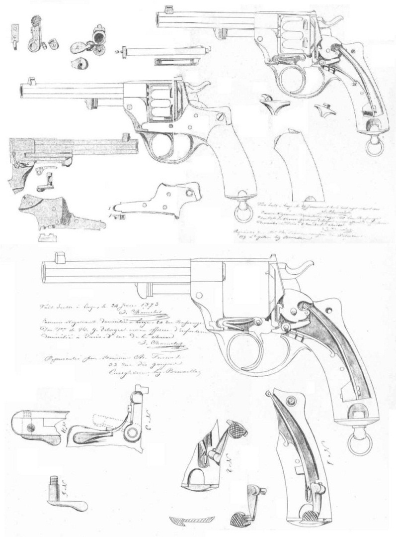 Патент на револьвер Chamelot - Delvigne образца 1873 года