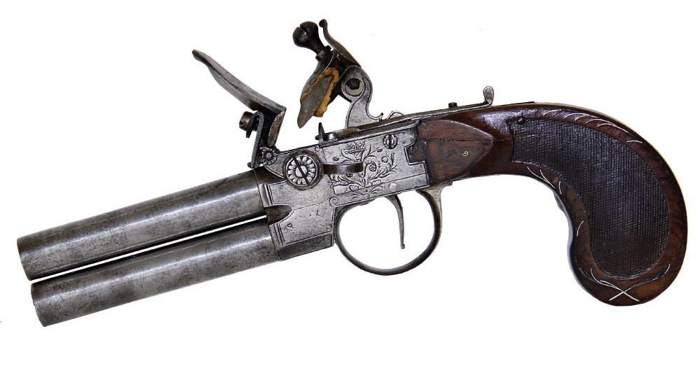Английский двуствольный кремневый пистолет с вертикальным расположение стволов