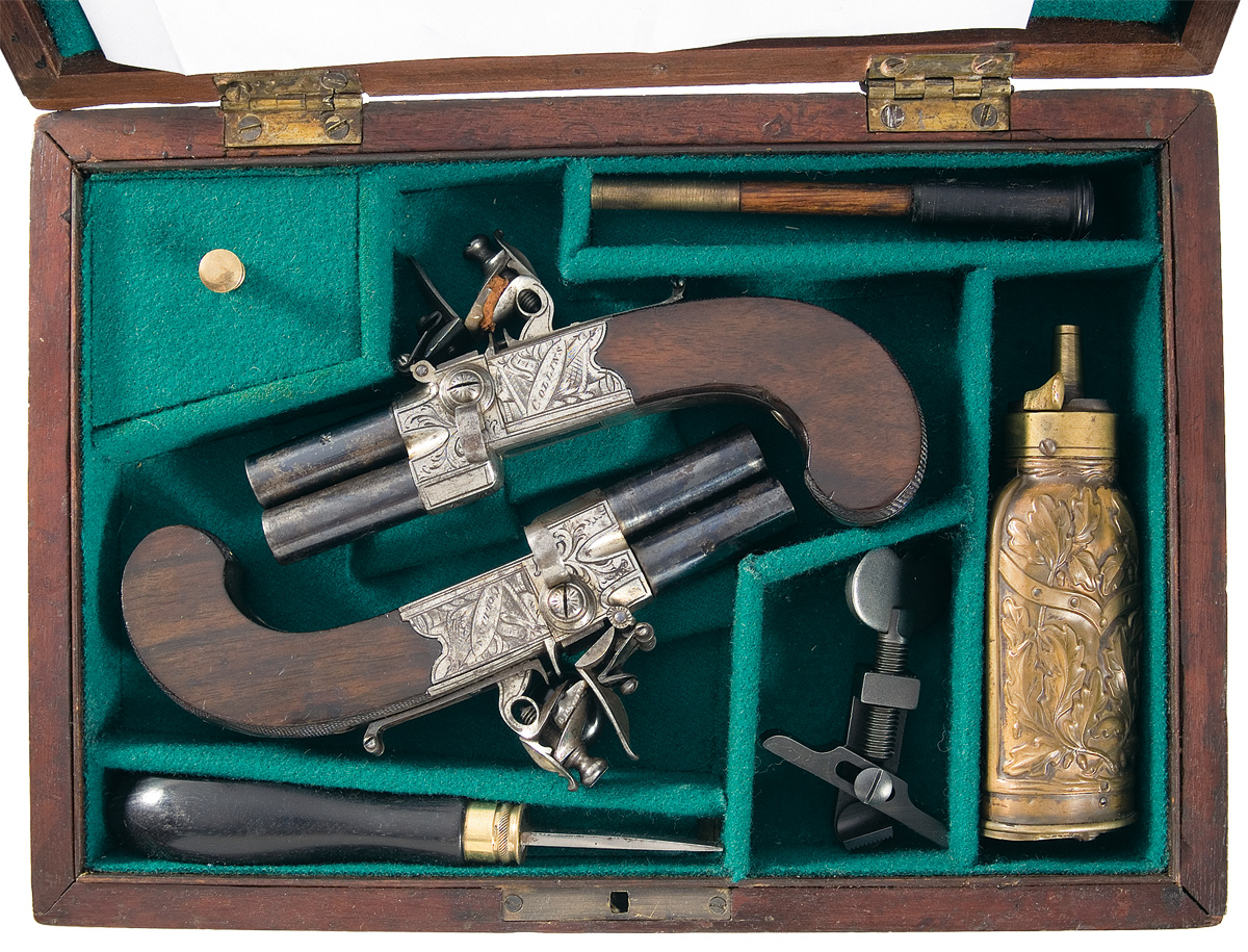 English Double barrel Flintlock pistol