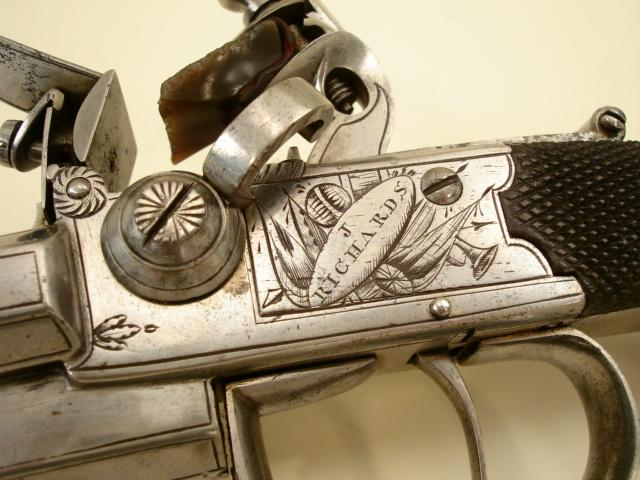 English Three barrel boxlock pistol