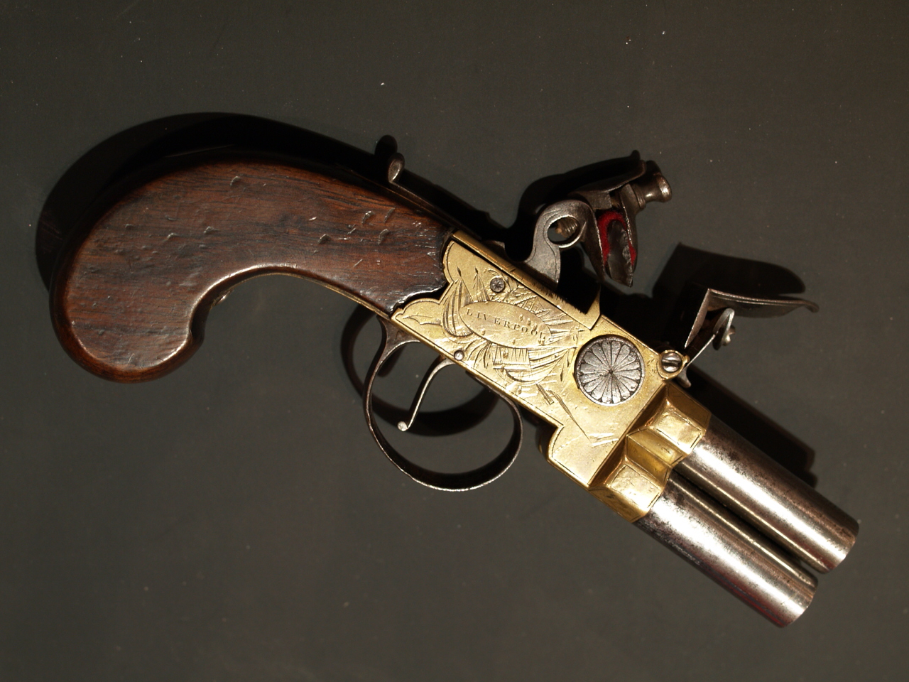 English Four barrel boxlock pistol