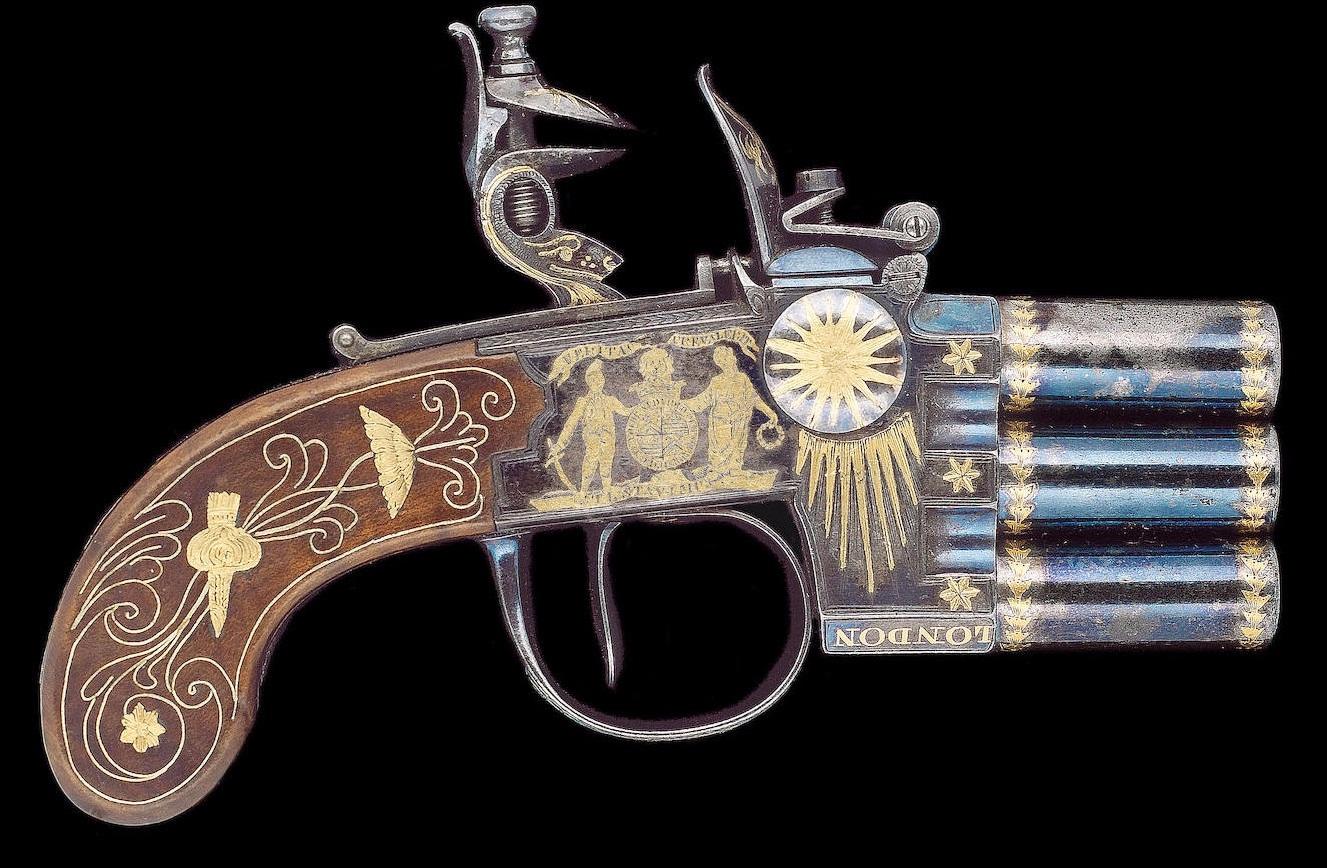 Английский трехствольный кремневый пистолет