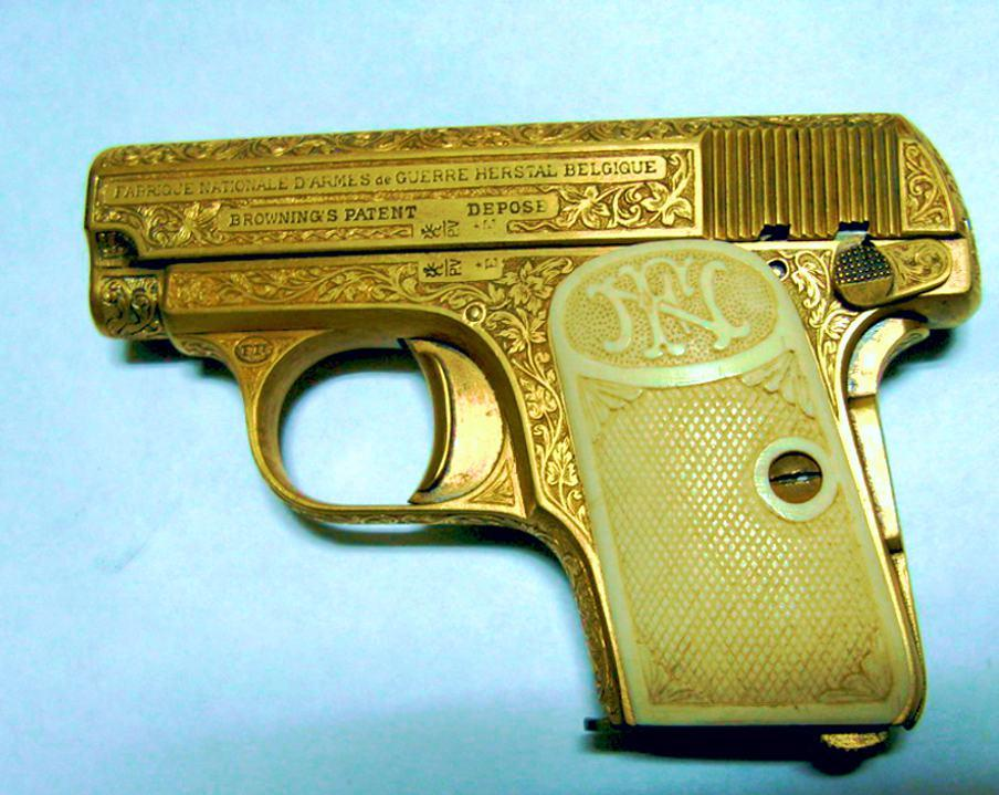 FN Browning Modell 1906 Pistol engraving, gold inlay, ivory grips
