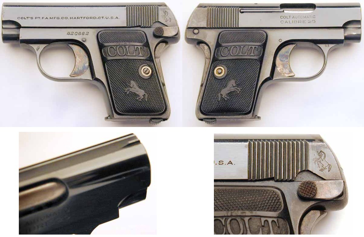 Colt 1908 Vest Pocket with slide serrations were cut in reverse