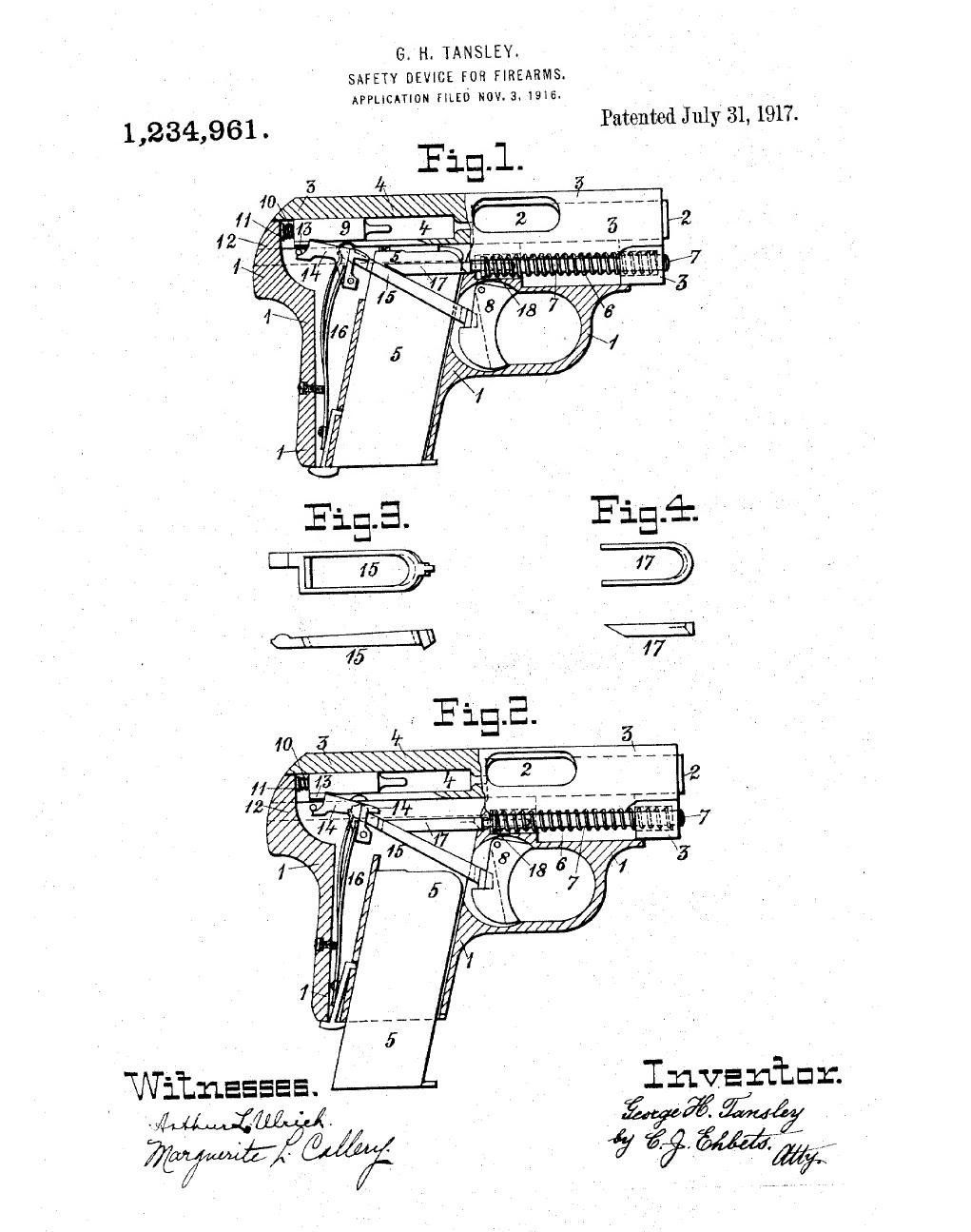 Патент на магазинный предохранитель пистолета Кольт 1908