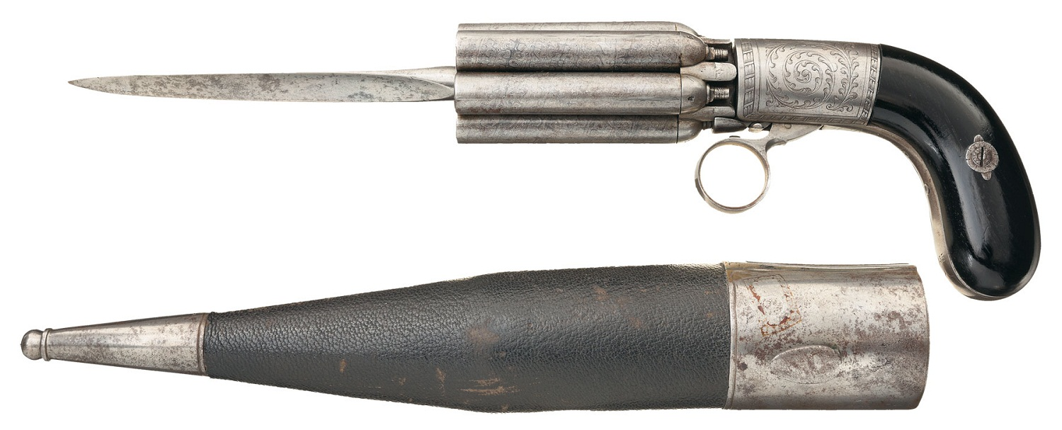 Mariette percussion pepperbox with Dagger Bayonet and Scabbard