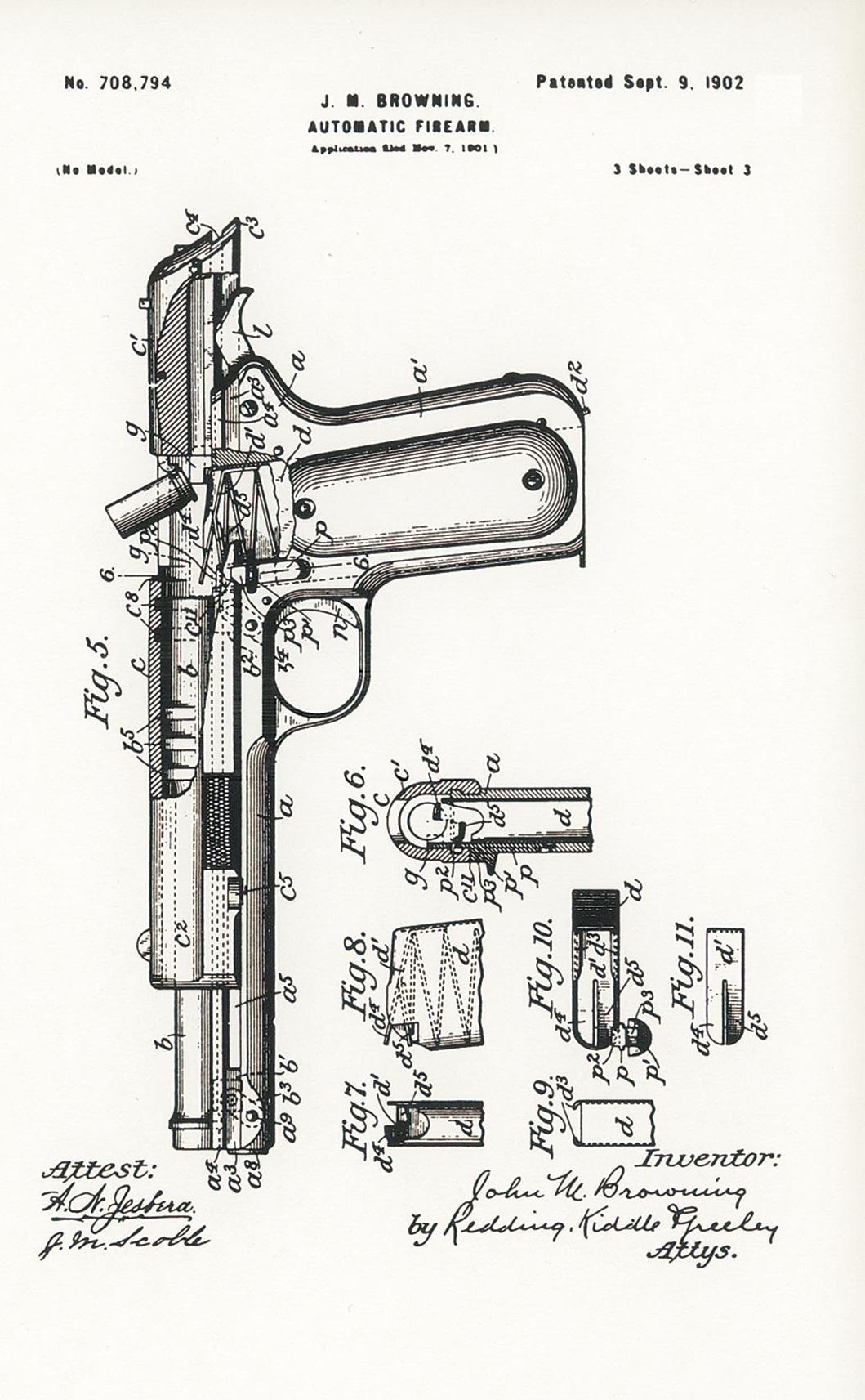 Browning's patent 708794 of 9 September 1902