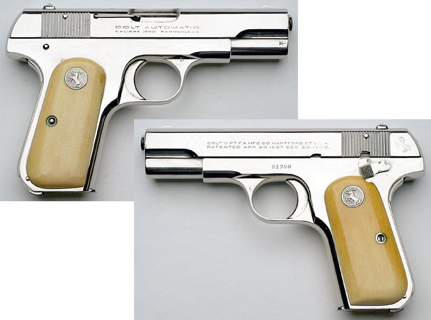 1908 Colt Hammerless Pocket Model with nickel finish