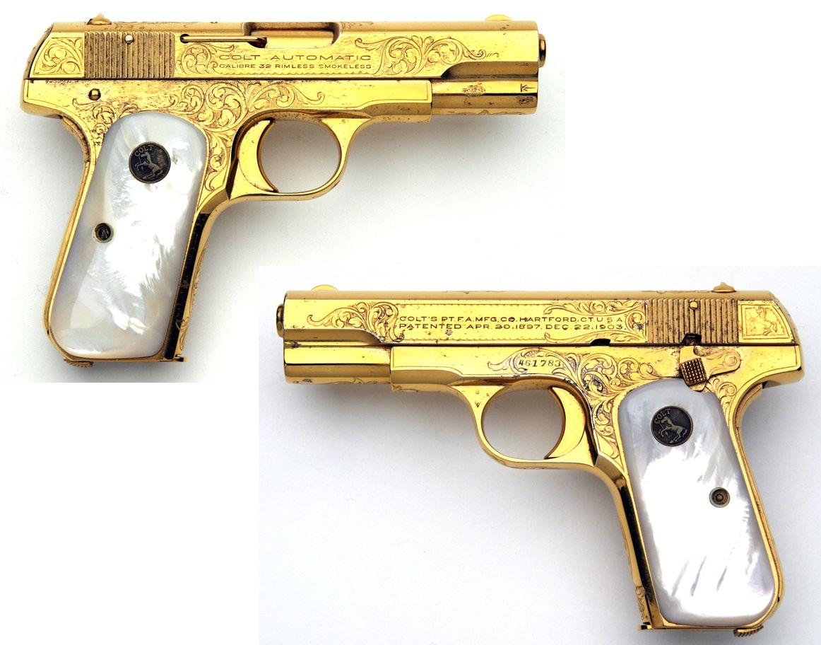 1903 Colt Hammerless Pocket Model factory gold plated with mother of pearl grips