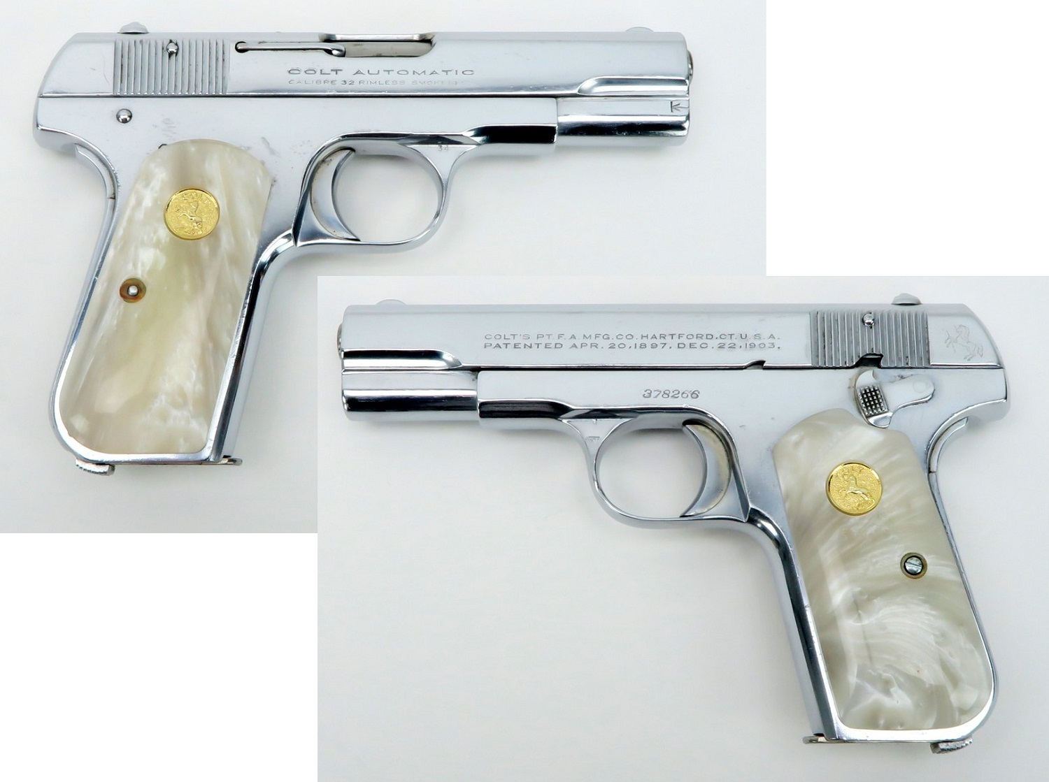 1903 Colt Hammerless Pocket Model chrome plated