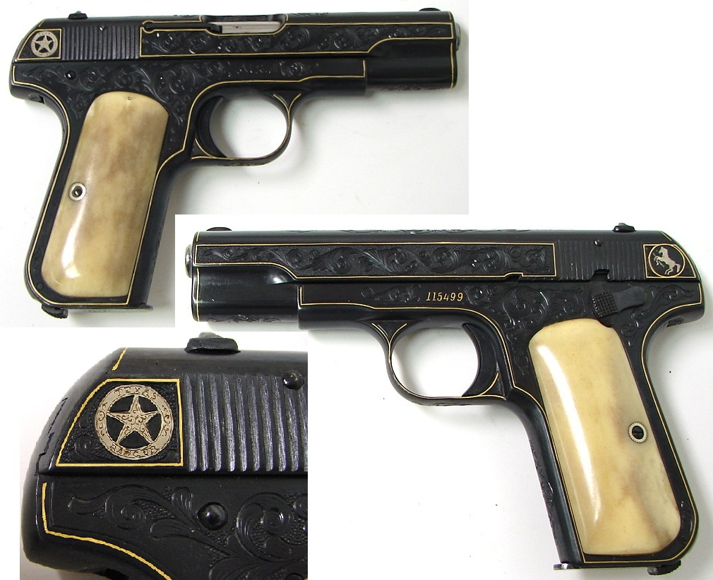 1903 Colt Hammerless Pocket Model with gold line inlay