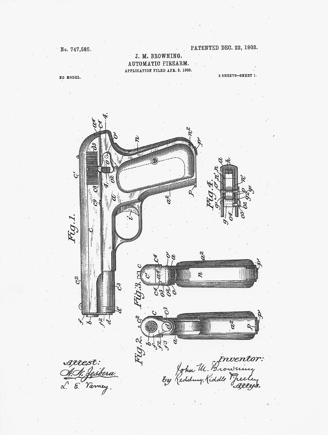 Patent 1903 Colt Hammerless Pocket Model