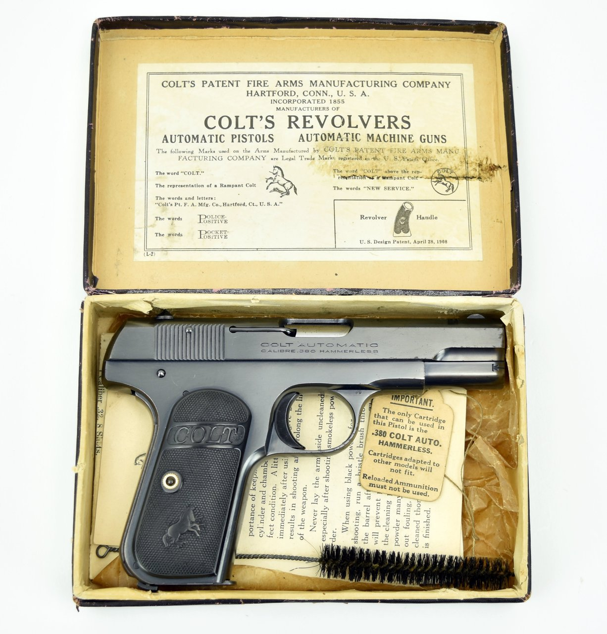 1908 Colt Hammerless Pocket Model Calibre 380 Box