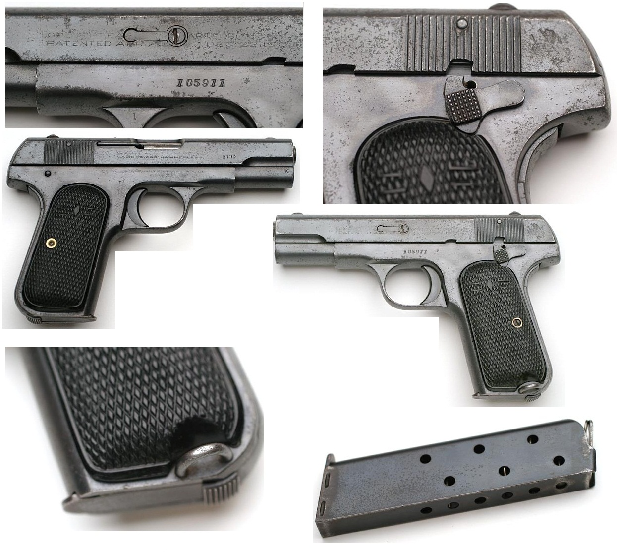 1908 Colt Hammerless Pocket Model SHANGHAI MUNICIPAL POLICE