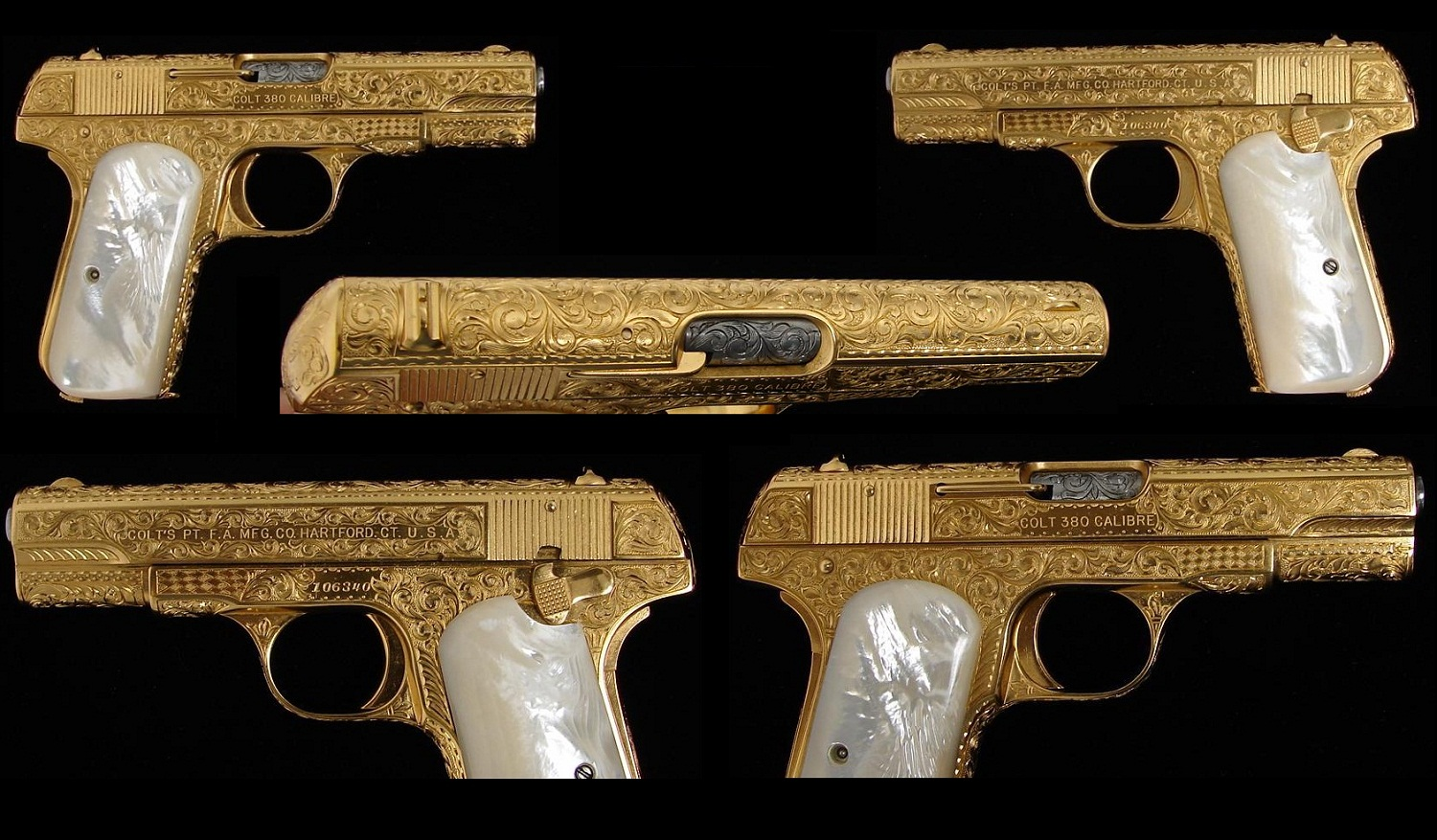 1908 Colt Hammerless Pocket Model Calibre 380 gold