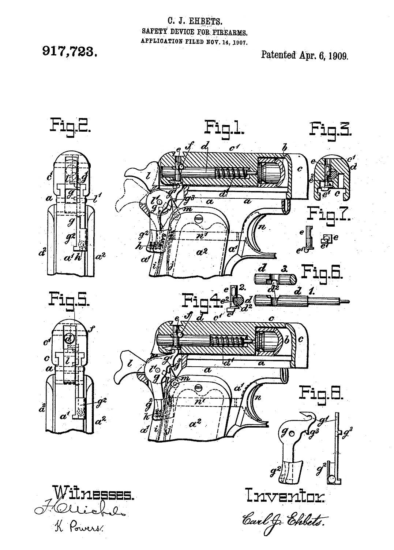 Colt Model 1907 .45 ACP Patent Carl Ehbets