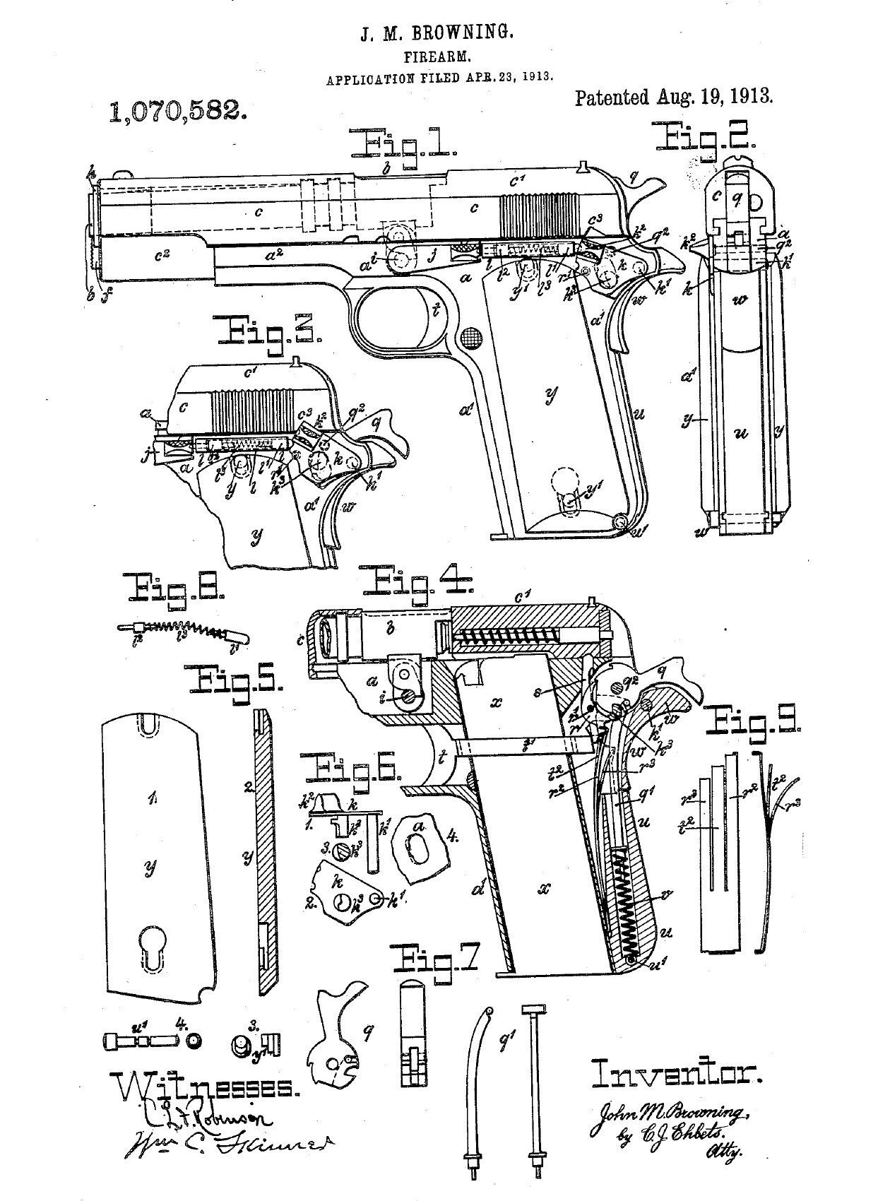 Патент на пистолет Кольт Модель 1911 года