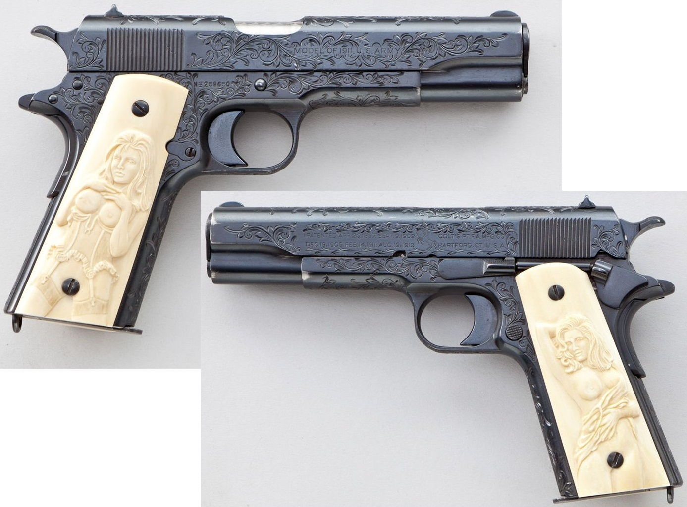 Engraved Colt Model 1911 Semi-Automatic Pistol