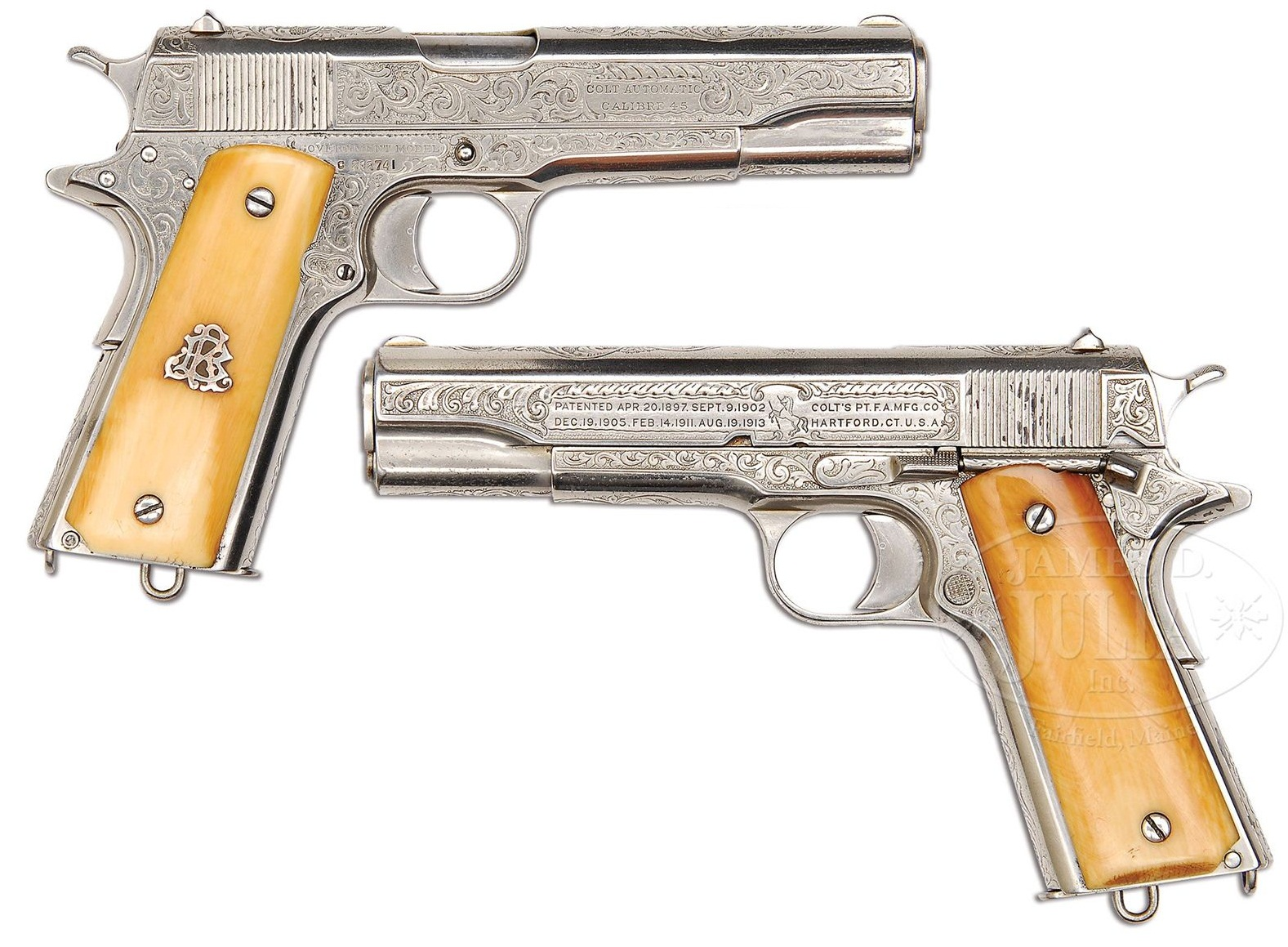 Colt 1911 factory engraved ivory grips and Nickel finish frame