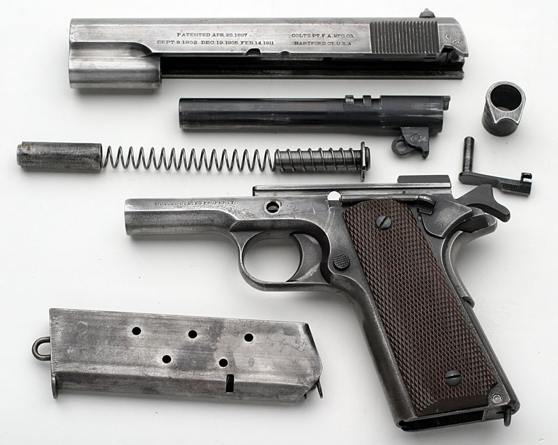 disassembled Colt Model of 1911