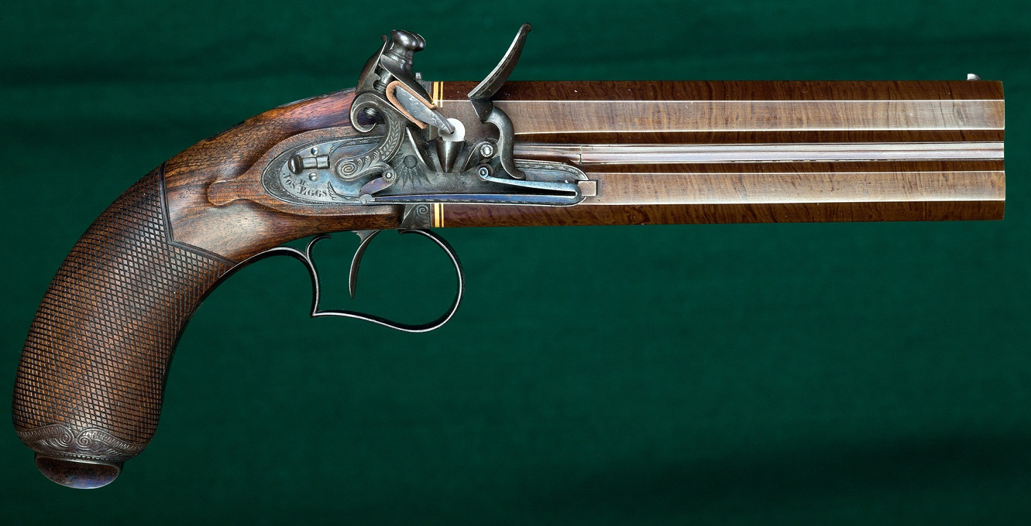 Double-barreled flintlock pistol with vertical shafts