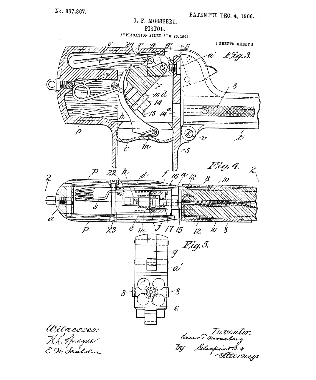 Patent for a Unique Palm Pistol