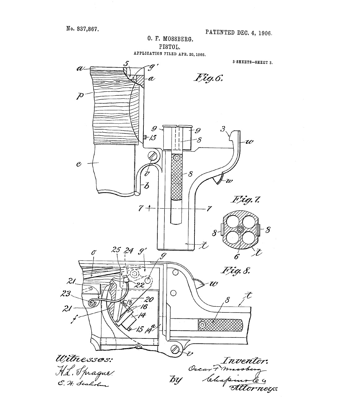 Patent Oscar Mossberg for a Unique Palm Pistol