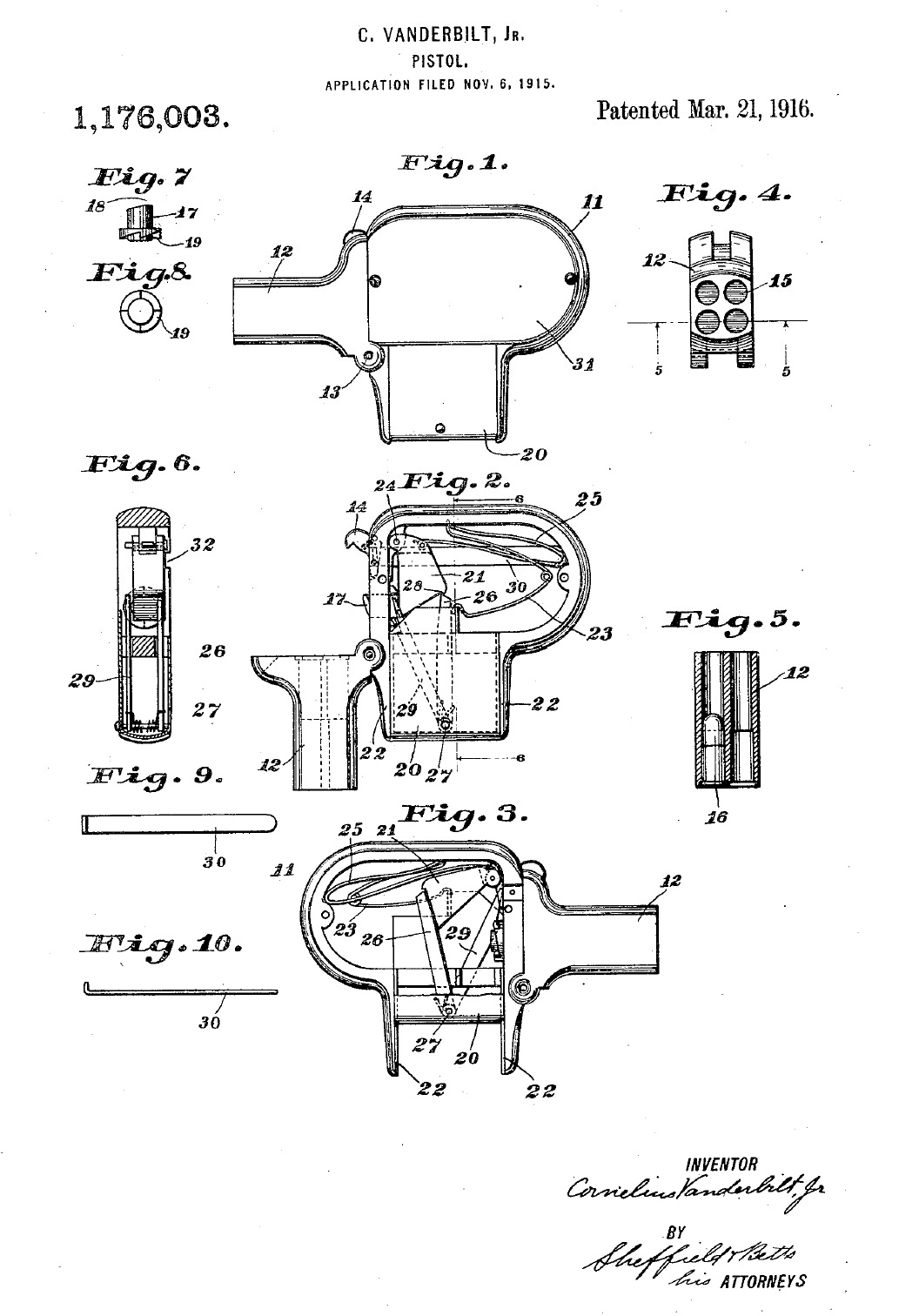 Patent Vanderbilt for a Unique Palm Pistol