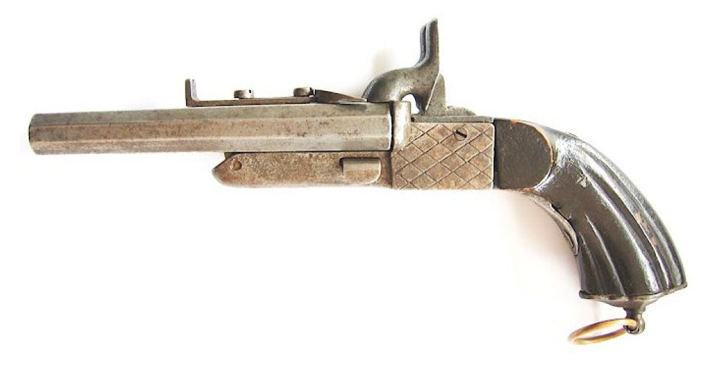 Double barrel boxlock pinfire pistol