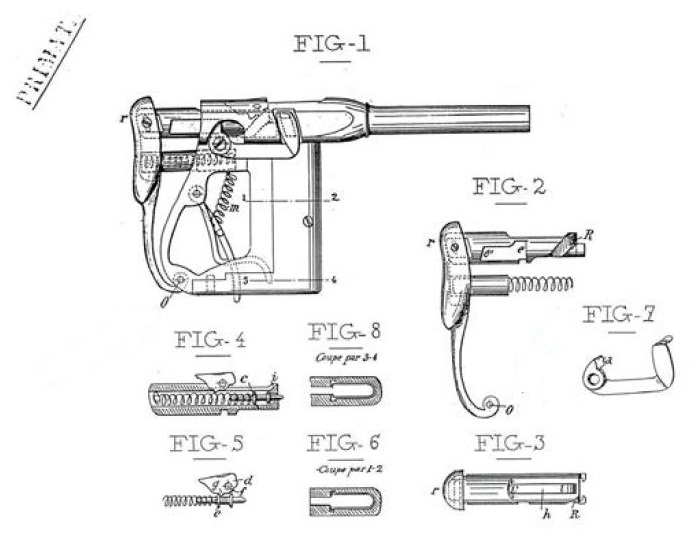 Patent Renovator pistol Jacques Ronchouse