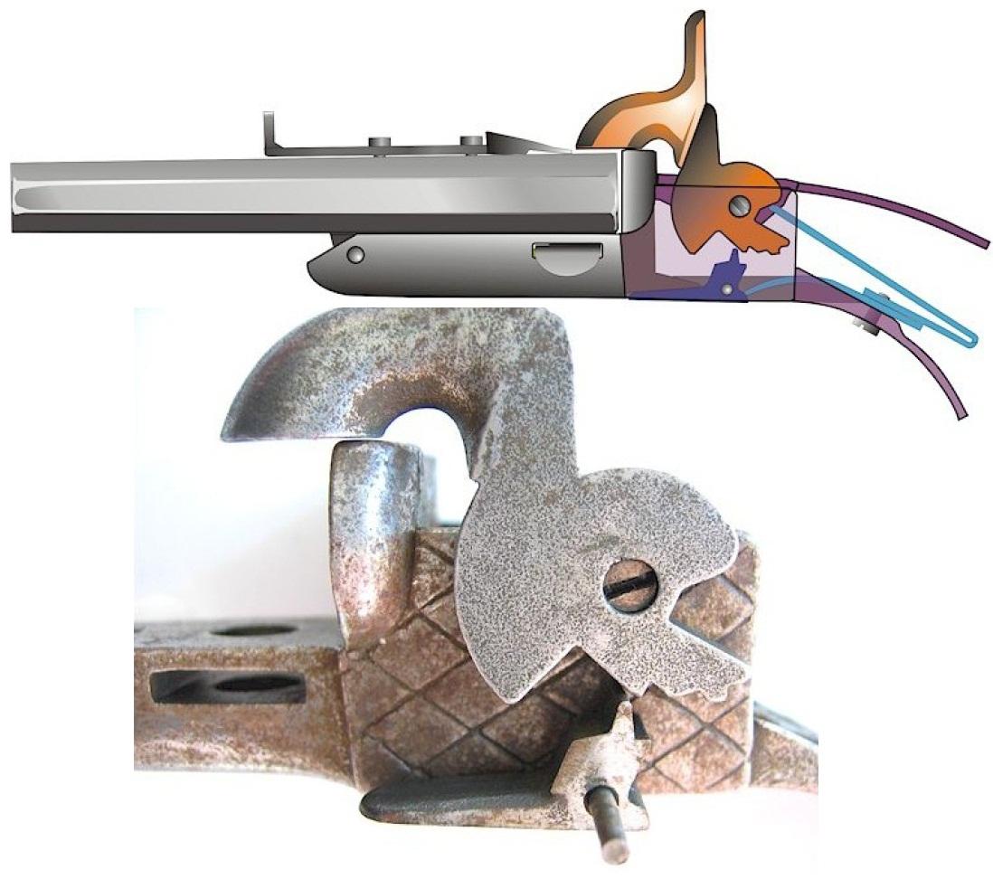Двуствольный шпилечный пистолет boxlock