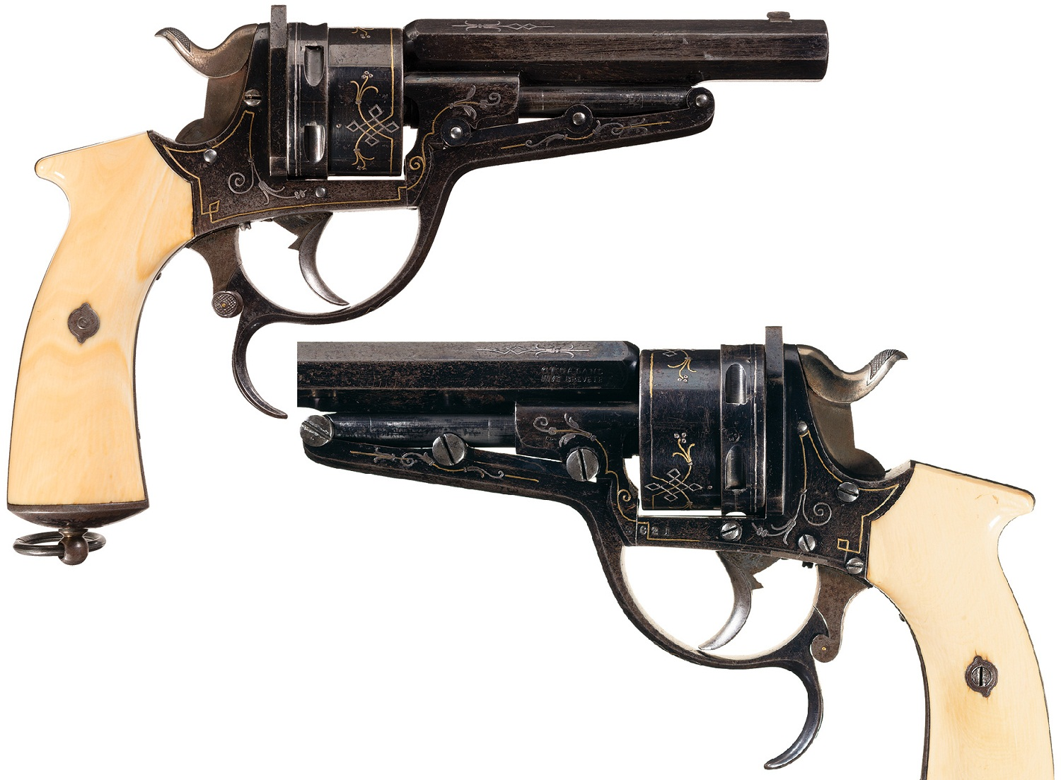 Silver and Gold Inlaid Galand Double Action Revolver