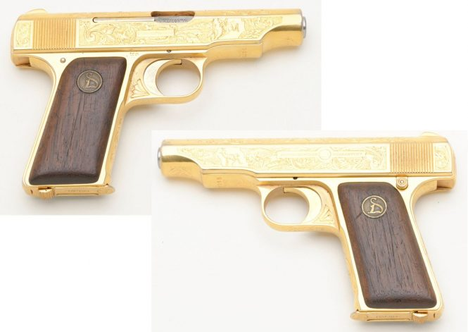 Ortgies pistol with golden finish