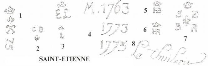 Marking of pistols M 1763/66 Manufacture de Saint-Etienne