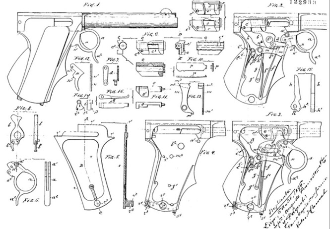 Patent Francotte repeating pistol