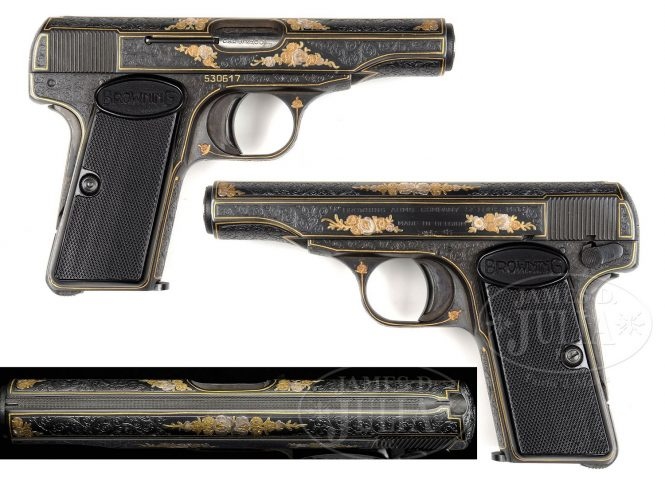 FN Browning Modell 1910 Pistol gold, engraved