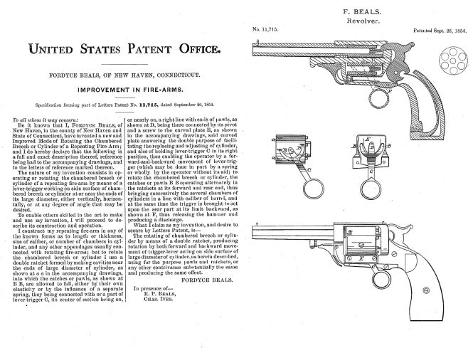 Fordyce Beals Patent 1854