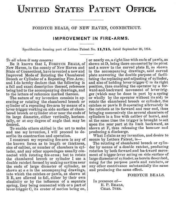 Fordyce Beals patent Sept. 26, 1854