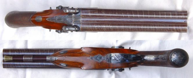 Вouble barrel Howdah percussion pistols