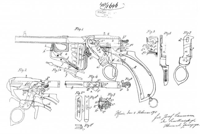 Patent Laumann Repeating Pistol Model 1891