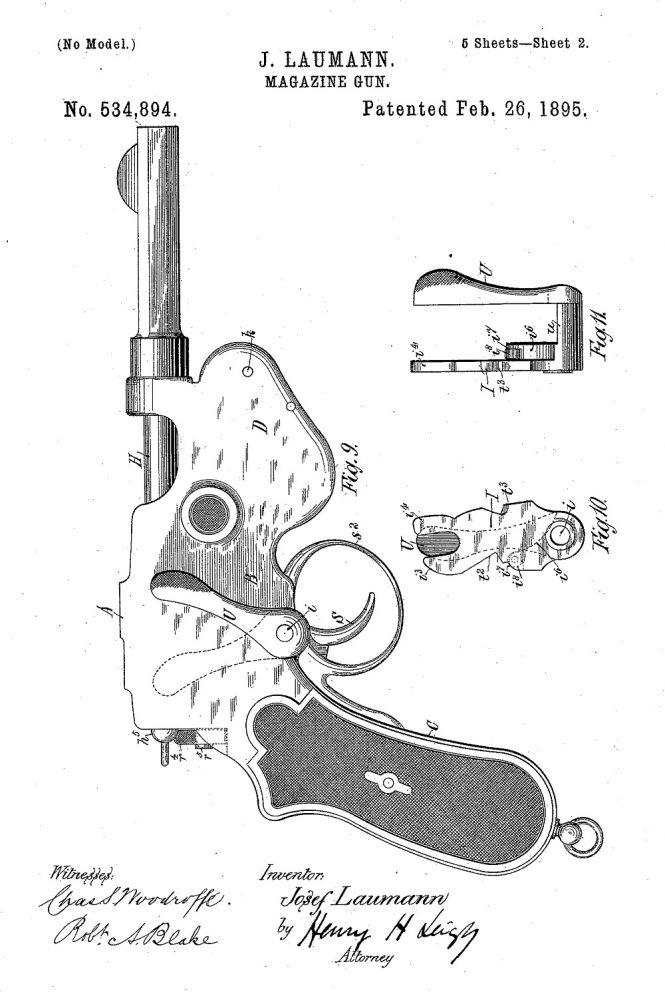 Patent Schönberger-Laumann Model 1894 Pistol
