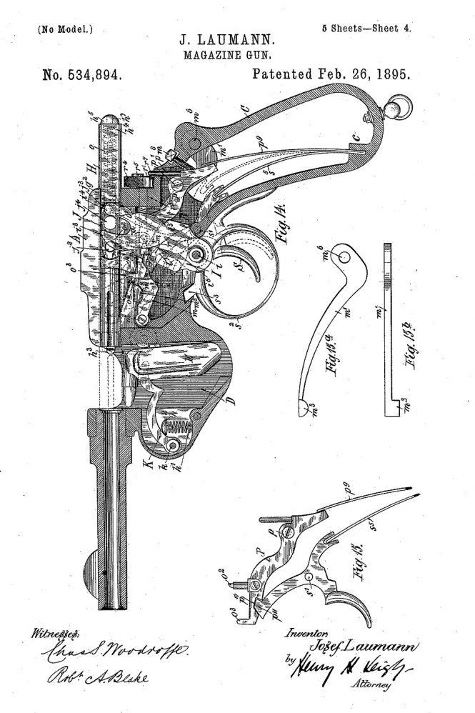 Patent Schonberger-Laumann 1894 Semiautomatic Pistols