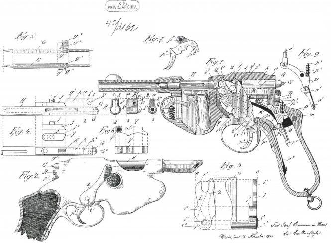 Patent Laumann Model 1892 Semiauto Pistols